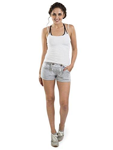 Damen WiesnFit Jogging Lederhose Madl - Jogginghose Trachten Hotpants (L, Grau)