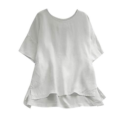 TOWAKM T Shirt Damen, Damen Kurzarm Baumwolle Und Leinen Rundhalsausschnitt Lose T-Shirt ()
