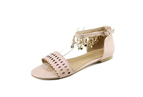 NobS Sandali Piatti Metallo Nappa Femminili Grandi Dimensioni Del Commercio Estero Vento Nazionale Scarpe Sandalo 40-48 Pink