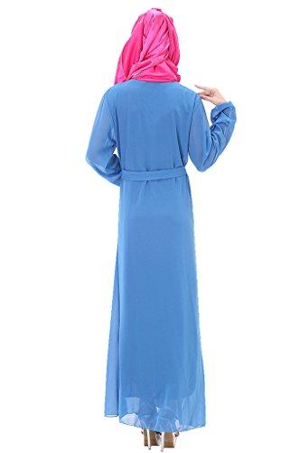 GladThink Donne Più Dimensione musulmano Chiffon Kaftan islamico Maxi Vestito Blu