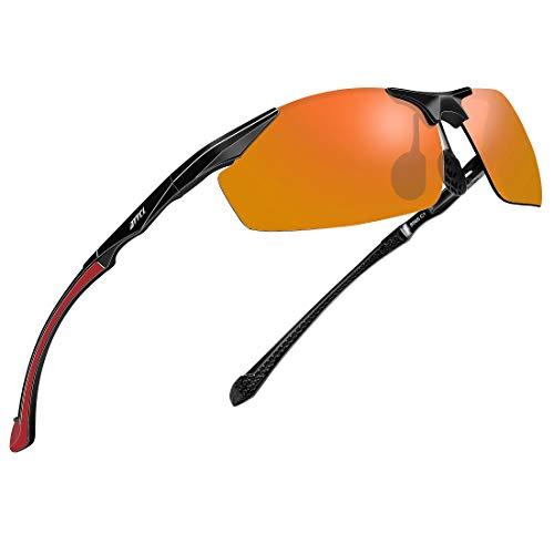 ATTCL Herren Sportbrille Polarisierte Sonnenbrille Fahrerbrille Al-Mg Metall Rahme Ultra Leicht 8585 Red
