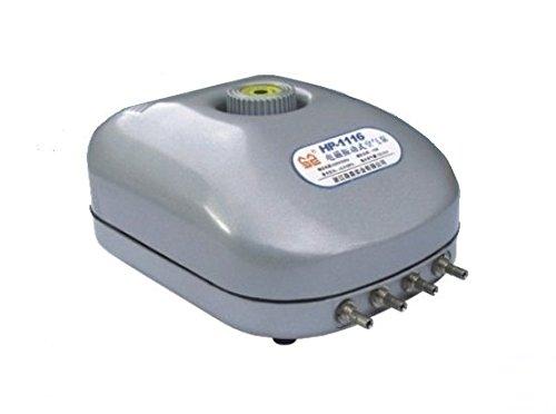 Aeratore Sun Sun HP-1116 - Quadrupla uscita, 15 watt, regolatore di potenza, completo di tubi e pietre porose