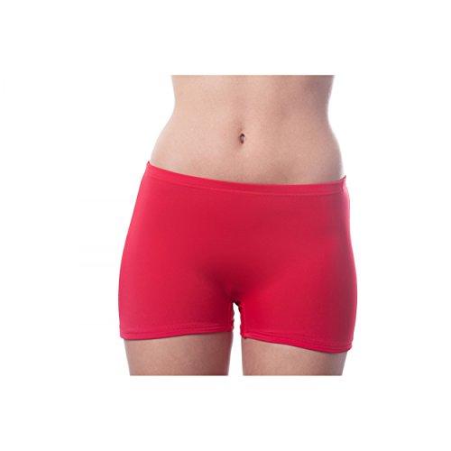 Damen Bikinihose Farbige Hotpants Sportbikini Badeshorts Schwimmshorts Kurze Badehose Rot