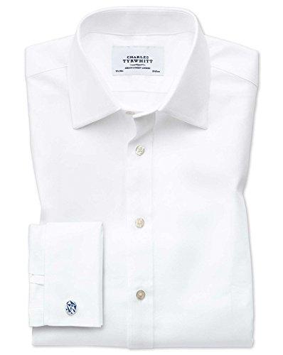 Slim Fit Hemd aus ägyptischer Baumwolle und Cavalry-Twill in weiß weiß (Umschalgmanschette Cuff)
