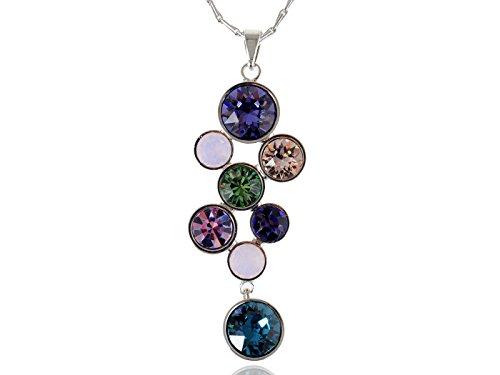Abstract Multi Color (Alilang Multi Color Abstract Dangle Drop Swarovski Crystal Rhinestone Pendant Halskette)