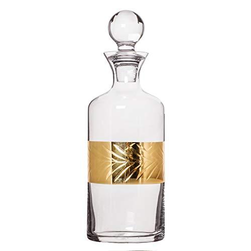 Art-Decanter, geprägt, 1,5 l, mit goldfarbenem Blätter, geätzter Rum-Dekanter, mit Stopper