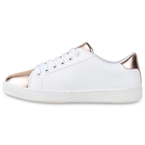 Damen Sneakers Basic Sportschuhe Schnürer Lederoptik Schuhe Weiss Rose Gold Sterne