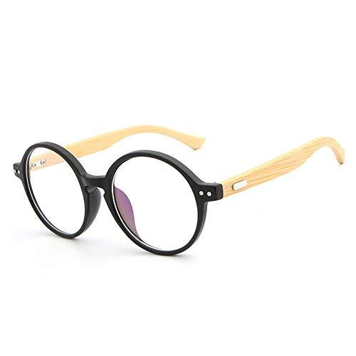XXY Gläser Handgemachte natürliche Bambus Holz Spiegel Beine Brillengestell Retro Runde Rahmen Brille Frames unisex (Color : 03Schwarz, Size : Kostenlos)