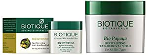 Biotique Bio Myristica Spot Correcting Anti Acne Face Pack, 20g and Biotique Bio Papaya Revitalizing Tan Removal Scrub for All Skin Types, 75g