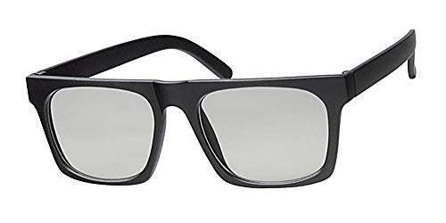 Clear Lens Unisex Retro Geek Gläser, matt schwarz Rahmen, mit gratis gelb Halskordel