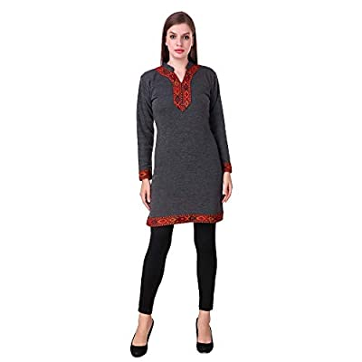 KIBA RETAIL Winter Collection Solid Woolen Kurti New Stylish Designer Neck Chinese Collar Style Winter Wear, Party Wear, Designer Casual Wear Woolen Kurtis so Soft,Thin & Also Warm (Color-Dark Grey)