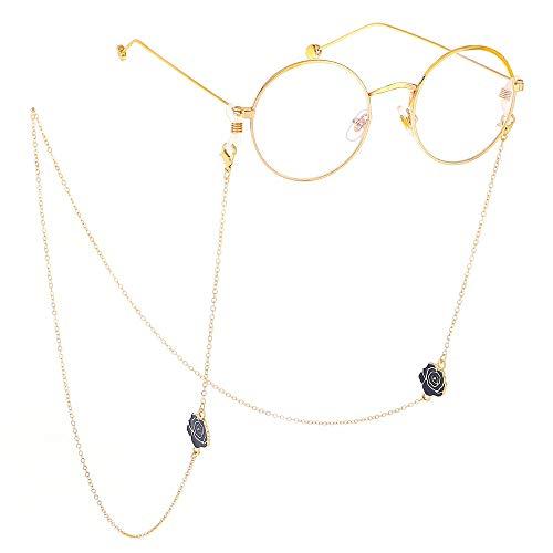 Susulv Punk Choker Goldene Rutschfeste Brille Kette Black Rose Metall Brille Seil Lanyard für Frauen Sonnenbrillen Halter Strap Lanyards Halskette