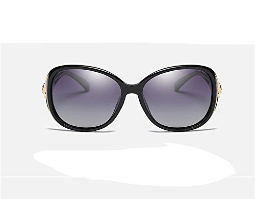 Frauen neue polarisierte Sonnenbrille arbeiten Sonnenbrille großen Rahmen (schwarz)