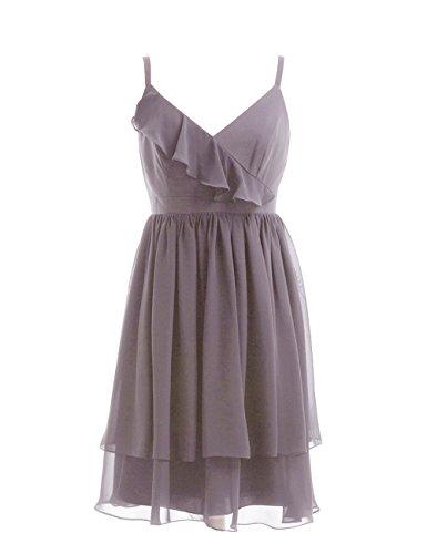 Dresstells, bretelles spaghetti robe courte de demoiselle d'honneur/cocktail, robe courte d'été en mousseline Gris