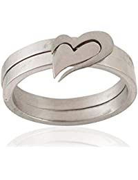 Sanaa Creations Silver Plated Anniversary Wedding Engagement Ring Couple Ring Romantic Lovers