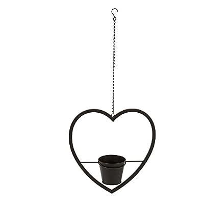 Blumentopfhalter Blumenampel Herz Metall Schwarz von PureDay auf Du und dein Garten