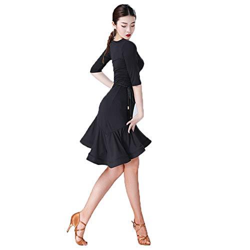 Kostüm Schwarzen Kleid Weiblichen - ZZBB Sexy Kurzarm Latein Dance Kleid Für Frauen/Weiblich Ballsaal Tango Cha Cha Rumba Kostüme,Schwarz,L