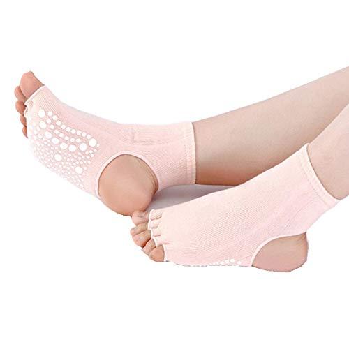LOVARTS BEAUTY Damen Yoga Socken mit offenen Zehen und Grip Rutschfeste Zehensocken aus Baumwolle für Yoga, Pilates, Tanz