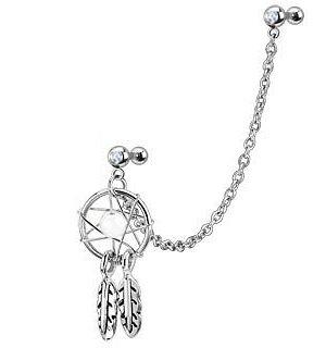 Pirsin con cadena vinculada y doble barra para cartílago de oreja, diseño de atrapasueños, de la marca Gekko Body Jewellery
