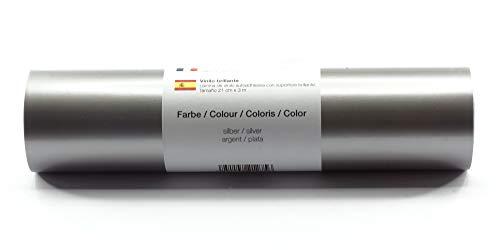 Selbstklebende Plotterfolie Vinylfolie 21 cm x 3 m glänzend 39 Farben zur Auswahl, Farbe:Silber
