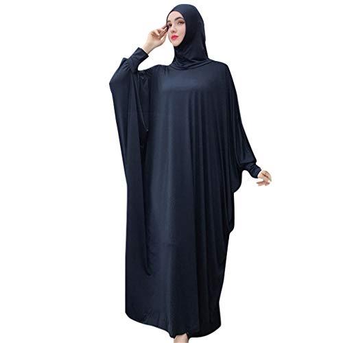 Lazzboy Muslim Frauen Einfarbig Kopfbedeckungen Moschee Fledermaus ärmel Strickjacke Ramadan Kleid Ethnische Roben Damen Sommer Muslimische Kleider Spitze Getrimmt Vorne Abaya Maxi Kaftan(Marine)
