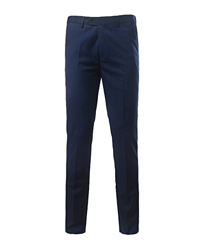 CHENGYANG Uomo Pantaloni da Abito Casual Suit Slim Fit Festa Smoking Business Pantaloni Pants Scuro Blu