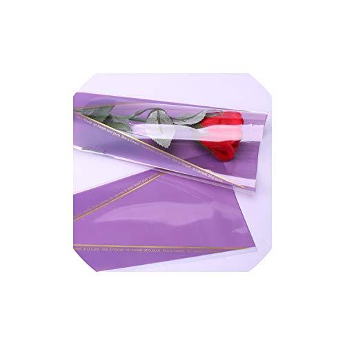 6Color 50Pcs / Lot Rose Einzel-Zweig Blumen Geschenkpapier Blumenverpackungsmaterialien, Lila (Womens Stationäre Set)