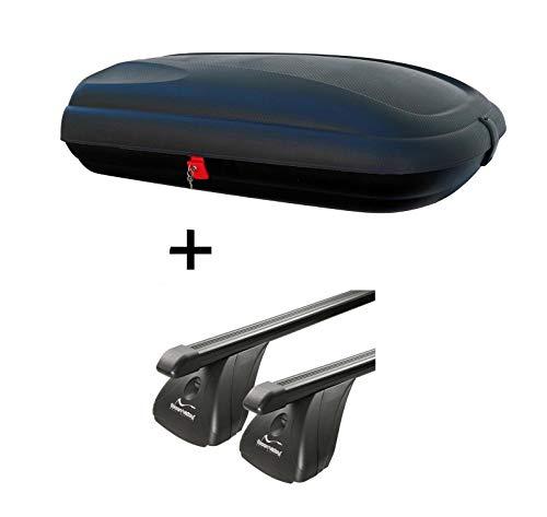 Dachbox VDPBA320 320Ltr carbonlook abschließbar + Stahl Dachträger Aurilis Original kompatibel mit Nissan Juke (5Türer) ab 2010