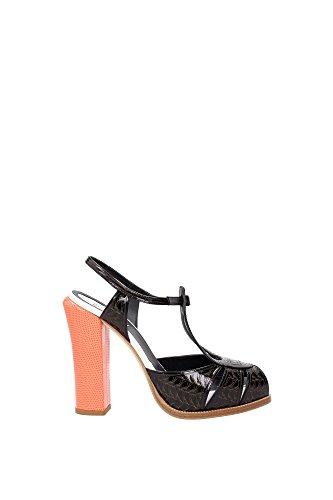 8X44721F6F0V5X Fendi Sandale Femme Cuir Verni Noir Noir