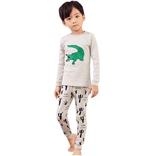 Yanhoo Kleinkind Baby Jungen Mädchen Cartoon Crocodile Tops + Pants Pyjamas Nachtwäsche Outfits LBE25 (1T-8T) Kinder Langarm Cartoon Krokodil Top + Hosen Home Service Pyjama Set