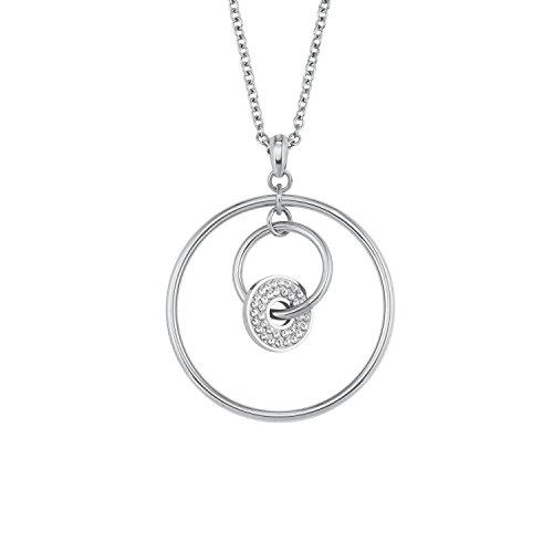 s.Oliver Damen-Kette mit Kreis-Anhänger Edelstahl Swarovski Kristalle längenverstellbar 72+5cm