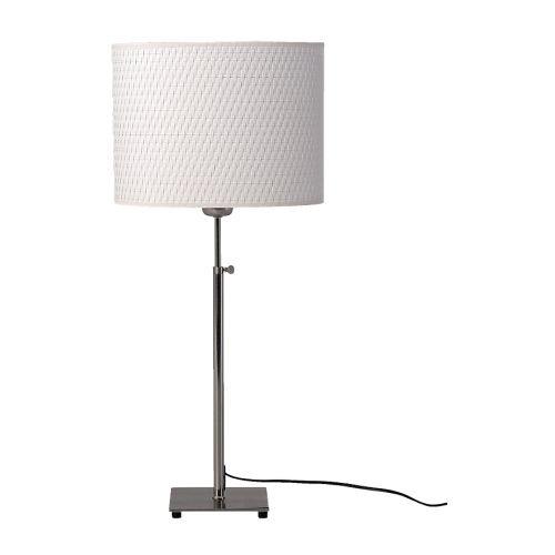 IKEA lang-Tischleuchte, vernickelt, weiß