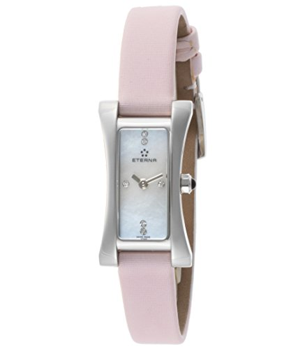 Eterna 2610-41-17-1124 Women's Sahida Diamond Pink Satin White Mother Of Pearl Dial Watch