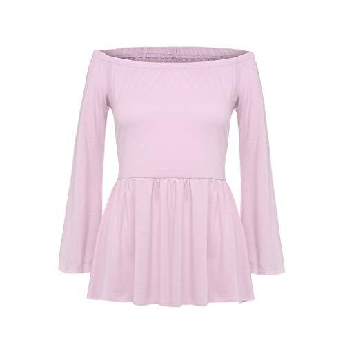 Damen T Shirt, CixNy Bluse Damen Einfarbig DREI Viertel Sleeve Aus Der Schulter Beiläufig O Hals Sommer Oberteil ()