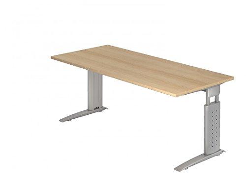 Schreibtisch DR-Büro 200 x 100 cm – Bürotisch höheneinstellbar 68-86 cm – Gestell silber – inkl Kabelwanne – 7 Farben zur Auswahl, Farbe Büromöbel:Eiche