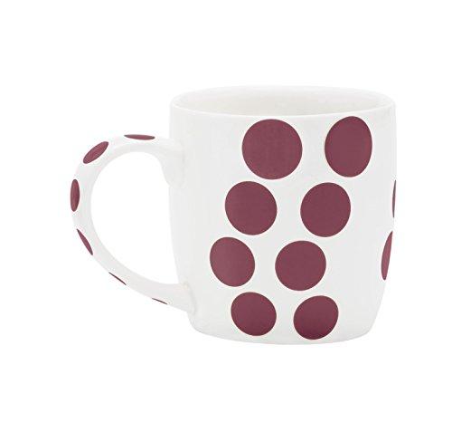 Zak Designs 2239-1590 Mug en Porcelaine 35cl-Blanc/Dot châtaigne
