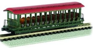 Jackson Sharp open-sided Excursion Cars Painted Unlettered verde e rosso – N scale