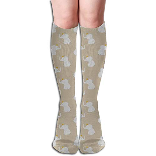 Knit Tall Boots (Crowned Elephants Taupe Comfortable Adult Knee High Sock Gym Outdoor Socks 50cm 19.7inch)