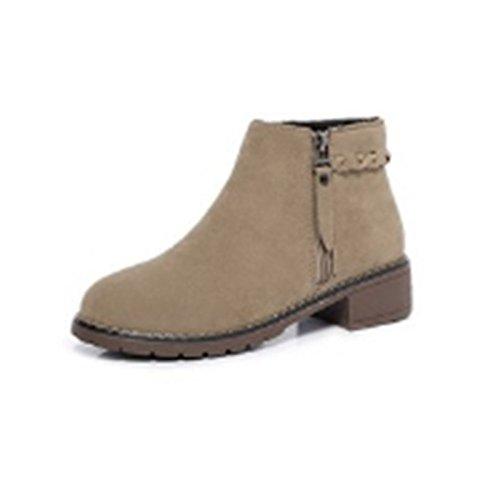 Zapatos De Mujer De Ante Hsxz Botas De Invierno De La Lucha Del Otoño Botas Gruesas Botines De Punta Redonda Con Cuentas / Almendra Botas De Bota De Almendra Negras Ocasionales