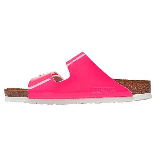 Birkenstock Womens Arizona Birko-Flor Sandals Patent Neon Pink