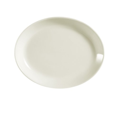 CAC China REC-14C Rolled Edge 12-3/4 by 10-1/4-Inch Stoneware Coupe Oval Platter, American White, Box of 12 - Coupe 10.25