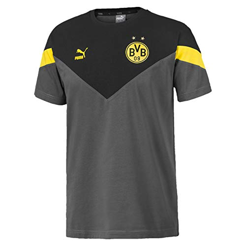 PUMA Herren BVB Iconic MCS Tee T-Shirt, Asphalt/Black, M