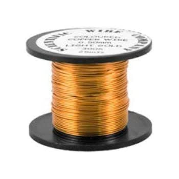 W5121 Charming Beads 1 x Pale Gold Round Copper Craft Wire 15 Metre x 0.5mm Coil