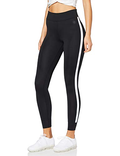 Amazon-Marke: AURIQUE Damen Sport Leggings Side Stripe, Schwarz (Black), 38 (Herstellergröße: Medium) -