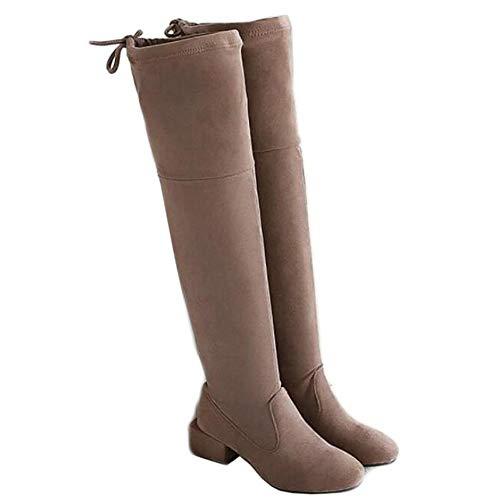 GEXING Frauen Overknee Stiefel Frauen-Over-The-Stiefel Low Mid Heel-Schuhe Mode Schnürstiefel Hohe Stiefel (Color : C, Size : 37) -