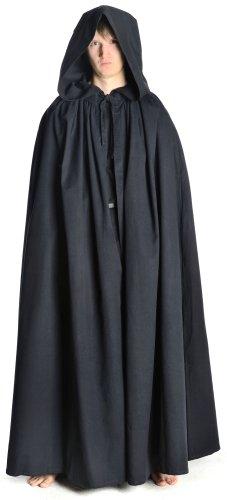 HEMAD Mantello medioevale maschile con cappuccio - Spazioso - Cotone puro – Nero