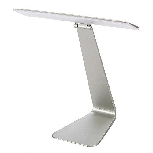 Eplze Mode Ultra-dünn LED Schreibtisch Lampe 210° Faltbare Kopf Dimmbare Berühren-empfindlich Auge-Schutz Lesen Lampe (Silber) (Boden Lamm)