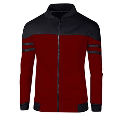 Herren Mantel Kapuze Wintermantel Coat Modern Warm Täglichen Stehkragen Kurzmantel Herren Langarmshirt Oversize Longshirt O-Neck