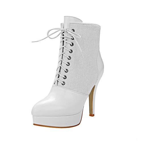 Y2Y Studio Femmes Bottines Chaussures Fashion Hiver 2018 Talons Aiguille  12cm Sexy Bout Pointu avec Lacets 08ff0b7d1091