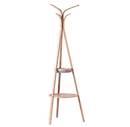 Porte-manteau à deux couches multi-fonction rack moderne minimaliste manteau rack sol en bambou groupe dispositif rack mobile suspendus
